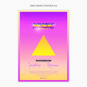Einseitige a4-plakatvorlage für das musikfestival der 80er jahre