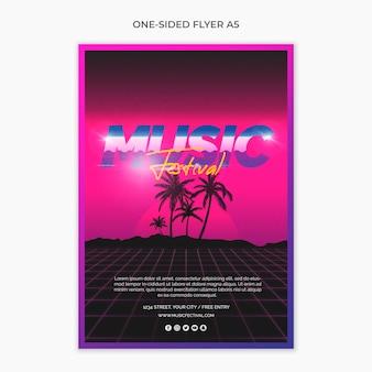 Einseitiger a5-flyer für das musikfestival der 80er