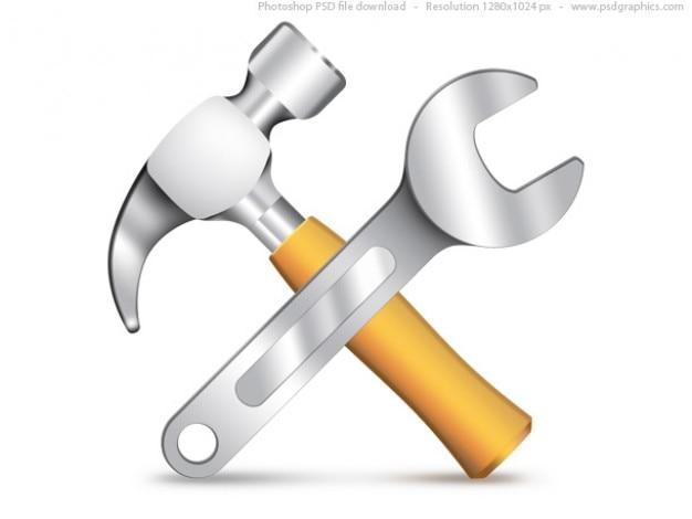 Einstellungen-symbol, psd hammer und schraubenschlüssel