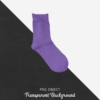 Einzelne purpurrote socken auf transparentem hintergrund