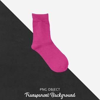 Einzelne rosa socken auf transparentem hintergrund