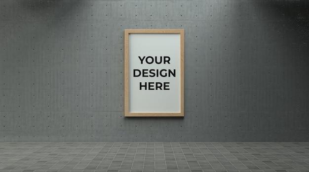 Einzelnes hölzernes poster oder fotorahmen auf betonwand mit industrieumgebungsmodell
