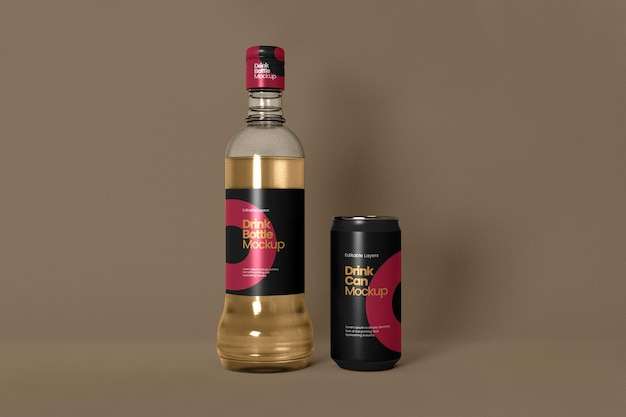 Einzelweinflaschenmodell mit dosenvorderansicht