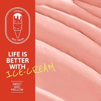 Eiscreme-vorlage psd mit rosa zuckerguss-textur für soziale medien