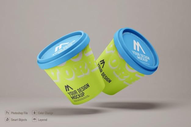 Eiscrememodell isoliert auf weichem farbhintergrund