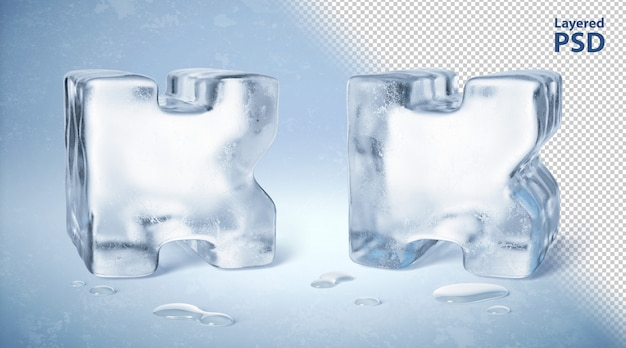Eiswürfel 3d gerendert buchstabe k.