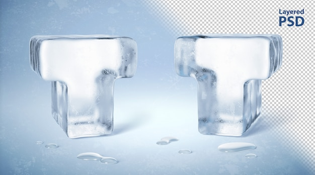 Eiswürfel 3d gerendert buchstabe t.