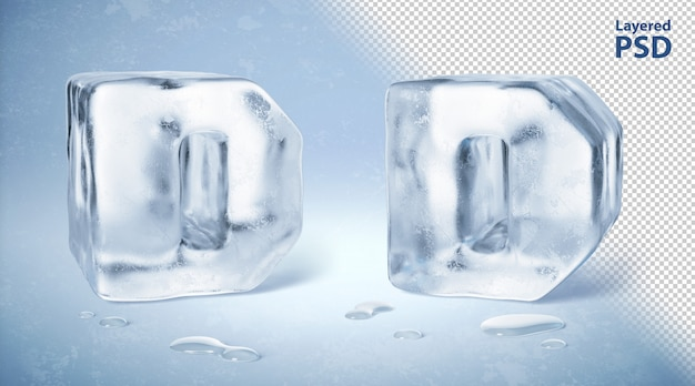 Eiswürfel 3d gerenderter buchstabe d.