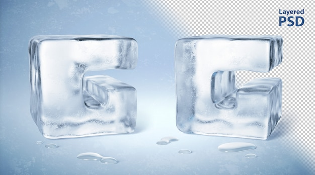 Eiswürfel 3d gerenderter buchstabe g.