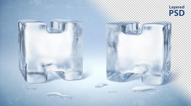 Eiswürfel 3d gerenderter buchstabe h.