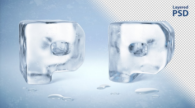 Eiswürfel 3d gerenderter buchstabe p.