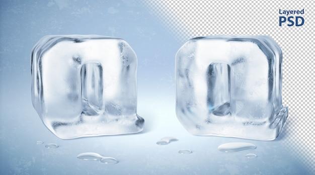 Eiswürfel 3d gerenderter buchstabe q.
