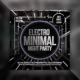 Electro minimal night party flyer