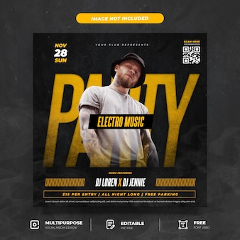 Electro music party social media post vorlage