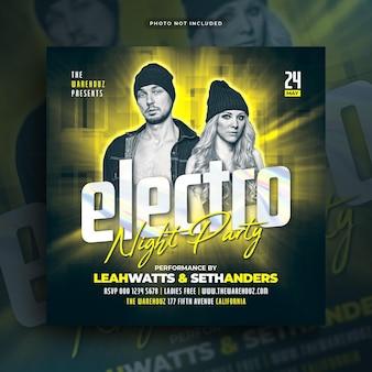 Electro night party flyer social media post web banner