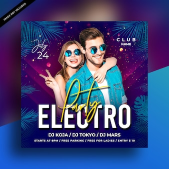Electro night party flyer vorlage