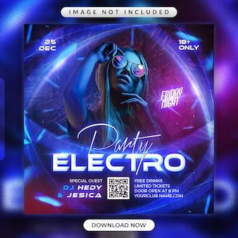 Electro party flyer oder social media werbebanner vorlage