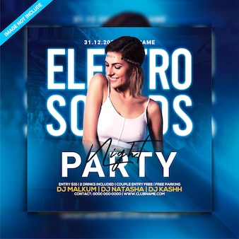 Electro sounds party night flyer
