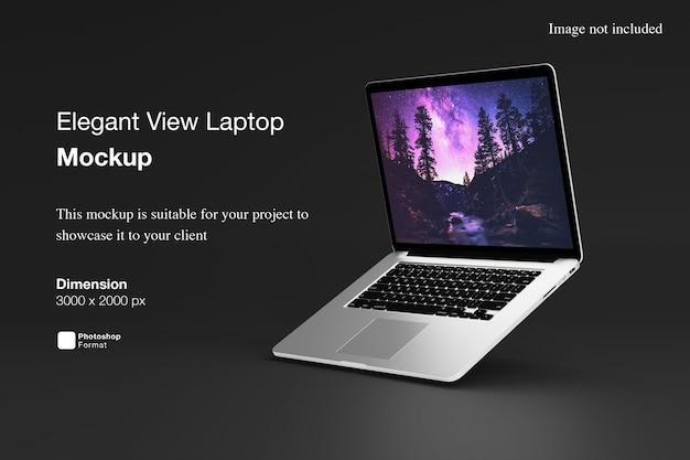 Elegant view laptop mockup
