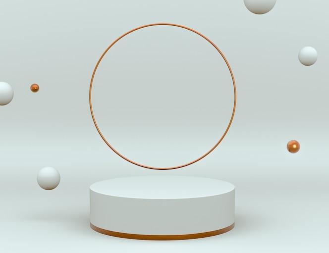Elegante 3d-weiß- und messingszene mit podium für produktplatzierung und bearbeitbare farbe