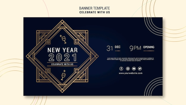 Elegante horizontale bannerschablone für neujahrsparty