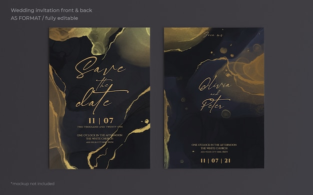 Elegante schwarze und goldene hochzeitseinladungsschablone