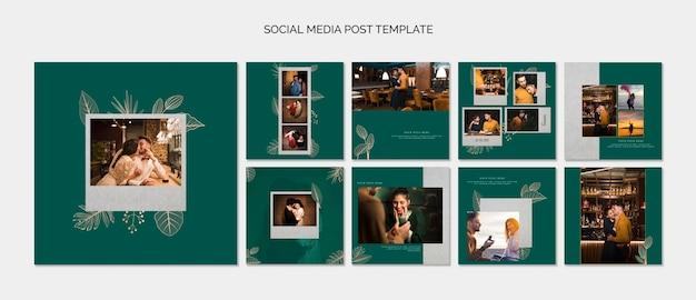Elegante social media-beitragsvorlagen für die hochzeit