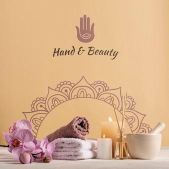 Elegante und natürliche packung im spa mit produkten