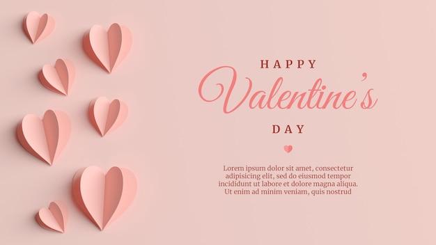 Elegante valentinstag-grußkarte im 3d-rendering Premium PSD
