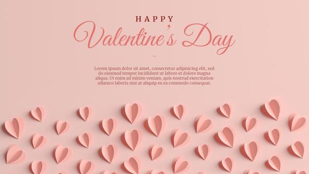 Elegante valentinstag-grußkarte im 3d-rendering