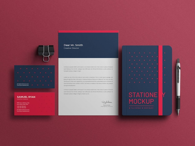 Eleganter briefkopf mit tagebuch-briefpapier-set-mockup