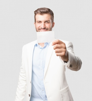 Eleganter mann, der visitenkarte zeigt