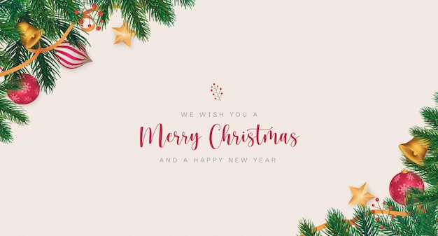 Eleganter weihnachtshintergrund mit realistischer dekoration