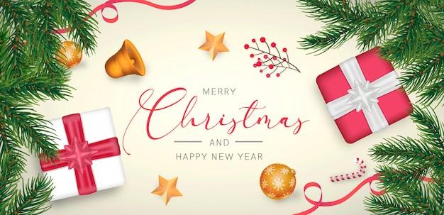 Eleganter weihnachtshintergrund mit roter und goldener dekoration