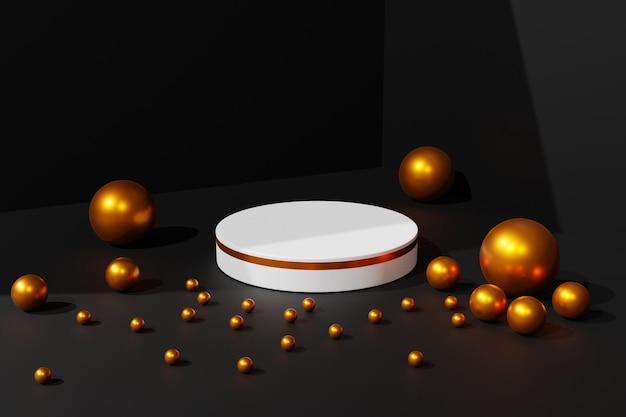 Eleganter weißer und goldener 3d-podest-bühnenhintergrund