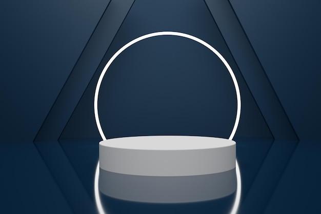 Elegantes 3d-renderpodium für die produktpräsentation mit neonlicht