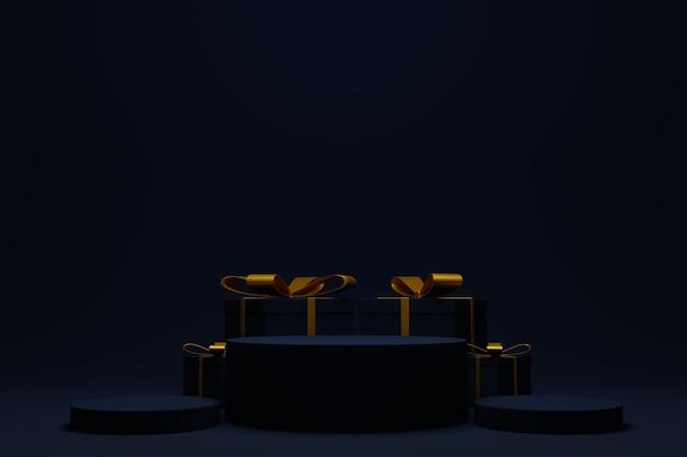 Elegantes 3d-renderpodium für weihnachtshintergrund