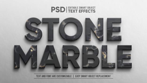 Elegantes bearbeitbares texteffektmodell mit marmorschwarzgoldprägung und 3d-reflexion