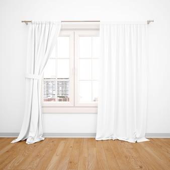 Elegantes fenster mit weißen vorhängen, holzboden