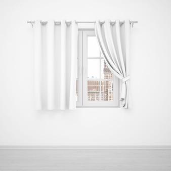 Elegantes fenster mit weißen vorhängen