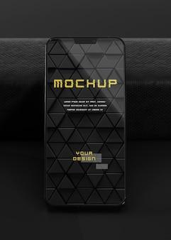 Elegantes, glänzendes, dunkles smartphone-mock-up-design