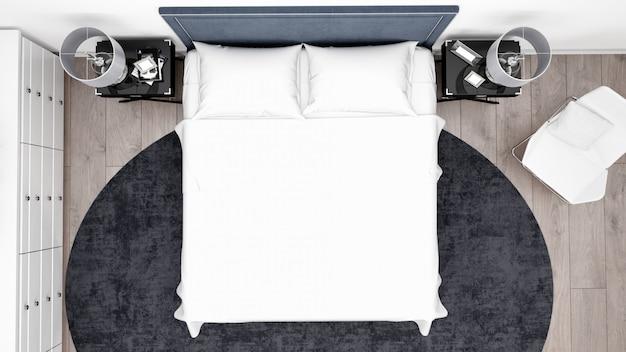 Elegantes schlafzimmer oder hotelzimmer mit klassischen möbeln, draufsicht