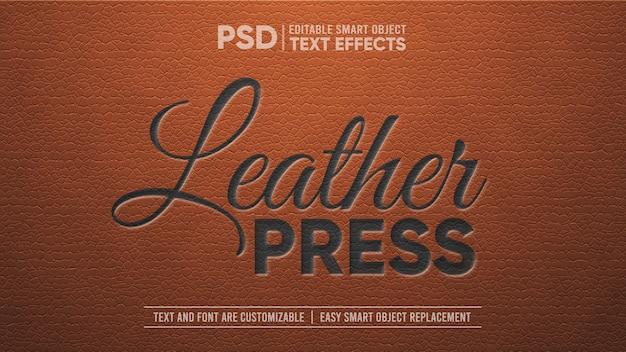 Elegantes vintage-leder mit schwarz geprägtem bearbeitbaren texteffekt Premium PSD
