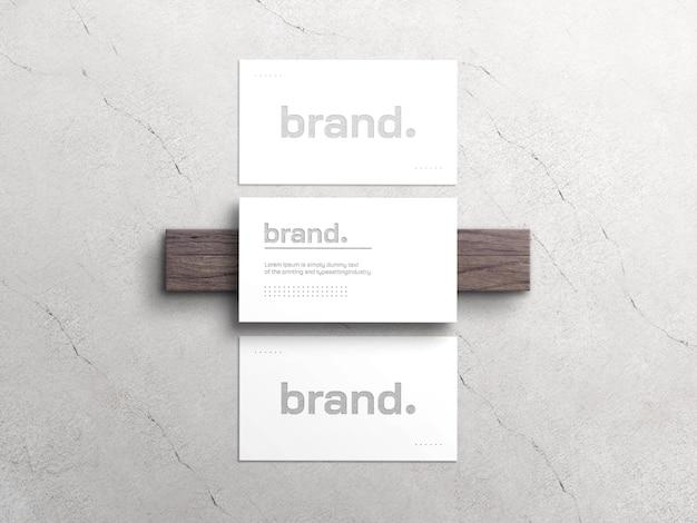 Elegantes weißes visitenkartenmodell mit letterpress-effekt