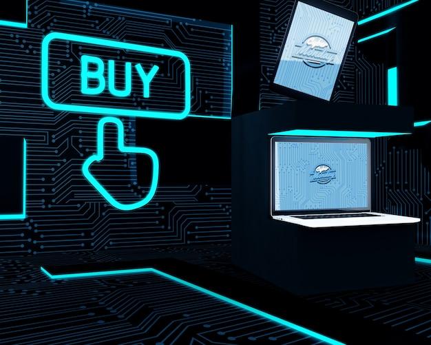 Elektronische geräte eingestellt nahe bei neonkaufzeichen