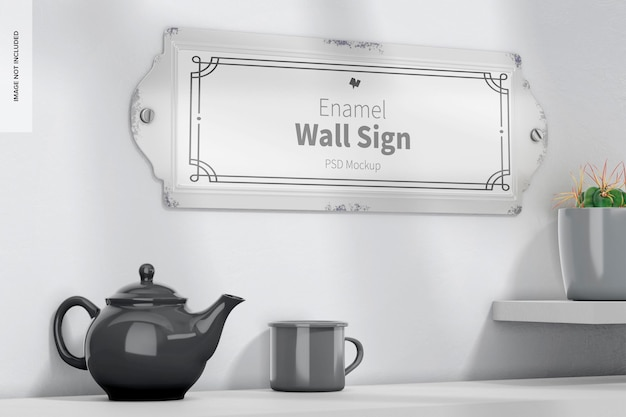 Emaille-wandschild-mockup, ansicht von links