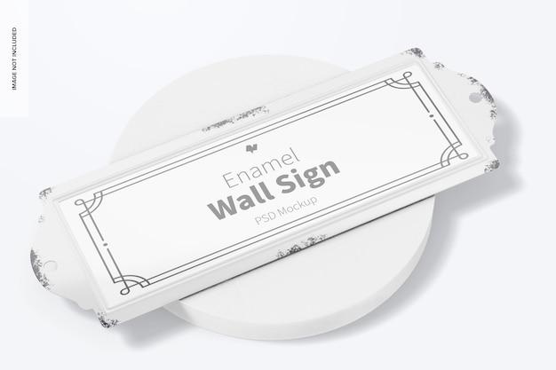 Emaille-wandschild-mockup, ansicht von oben