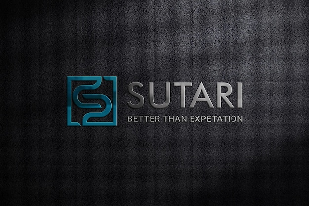 Emblematisches 3d-logo-modell auf dunklem stoff