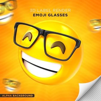 Emoji-brillenetikett 3d-rendering-design