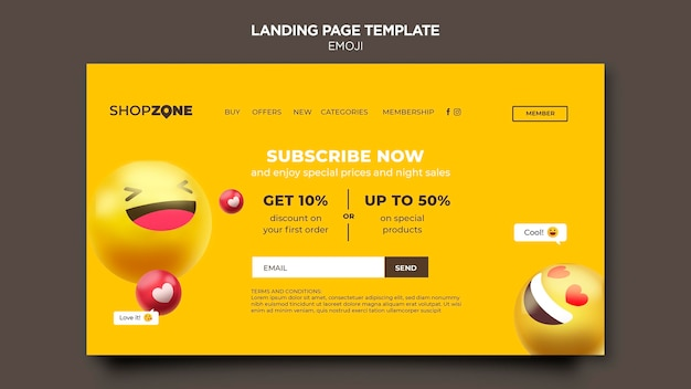 Emoji landing page vorlage